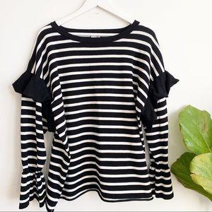 Cupio Curvy Striped Bell Sleeve Sweater Size 2X